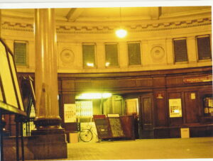Booking Hall of (1923) Walsall Station showing entrance to platforms - shortly before demolition.