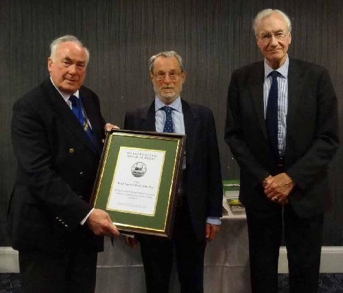 Martin Higginson and Ken Swallow receive their certificate for the 2016 Road Transport Book of the Year award (Photo: Stephen Rowson)