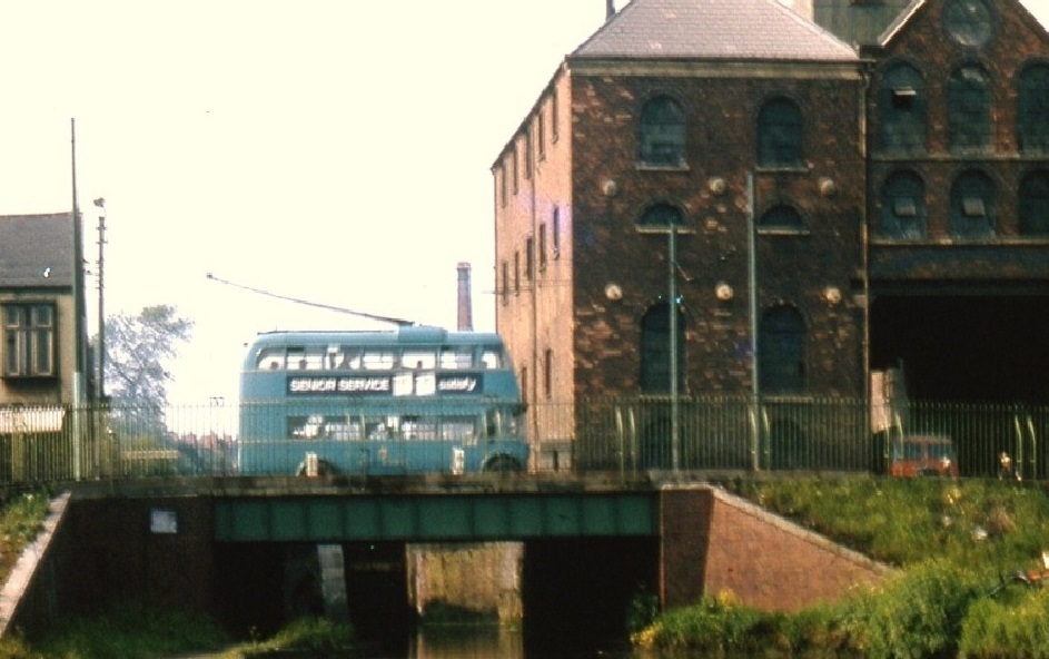 Trolley Bus crossing Wolverhampton Street Bridge
